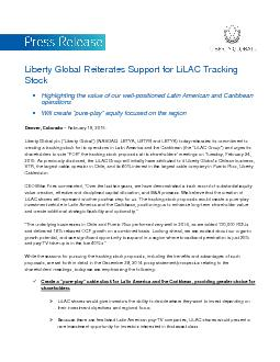 Liberty Global Reiterates Support forLiLAC Tracking StockHighlighting