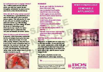 A removable brace on the top teeth DQGD