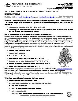 Urban Forestry1900 SW 4Ave. Suite 5000Portland, OR 972Email: trees@por