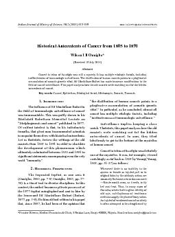 Historical Antecedents of Cancer from 1805 to 1891Wilson I B Onuigbo*A