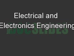 Electrical and Electronics Engineering