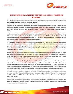 NRGI REPORT: SAHARA RESTATES POSITION ON OFFSHORE PROCESSING