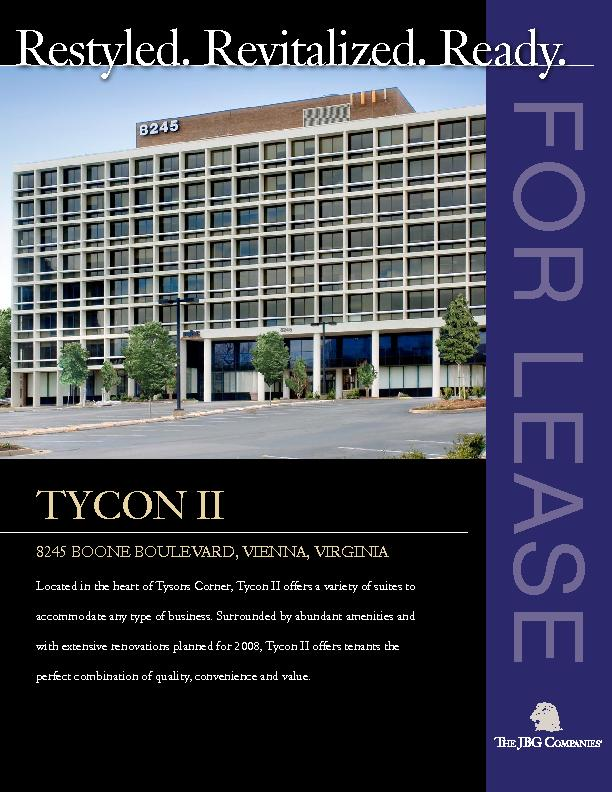Located in the heart of Tysons Corner, Tycon II offers a variety of su