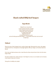Hand crafted BBQ beef burgers Ingredients glb lean min