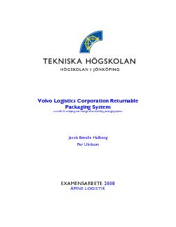 Volvo Logistics Corporation Returnable Packaging System  a model for a
