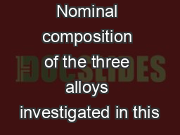 Table 1: Nominal composition of the three alloys investigated in this