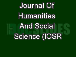 Journal Of Humanities And Social Science (IOSR