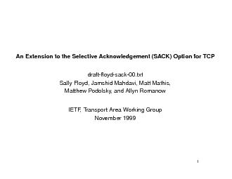 AnExtensiontotheSelectiveAcknowledgement(SACK)OptionforTCPdraft-oyd-s