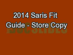 2014 Saris Fit Guide - Store Copy