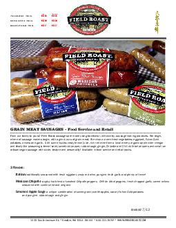 GRAIN MEAT SAUSAGES - Food Service and RetailITALIAN SAUSAGE     ITEM