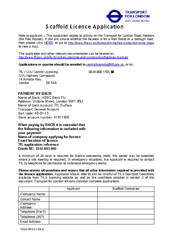 Scaffold Licence Application