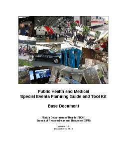 Public Health and Medical  Special Events Planning Guide and Tool Kit