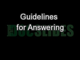 Guidelines for Answering