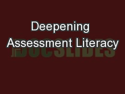 Deepening Assessment Literacy