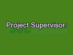 Project Supervisor:
