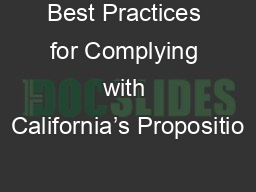 Best Practices for Complying with California's Propositio