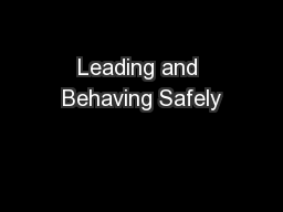 Leading and Behaving Safely