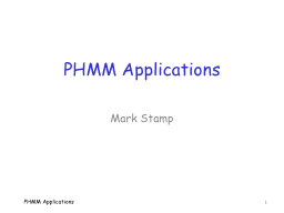 PHMM Applications PowerPoint PPT Presentation