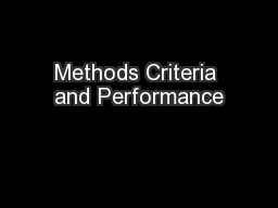 Methods Criteria and Performance