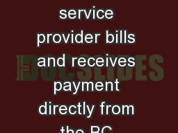The dental and optical service provider bills and receives payment directly from the BC Healthy Kids Program