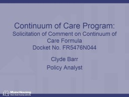 Continuum of Care Program