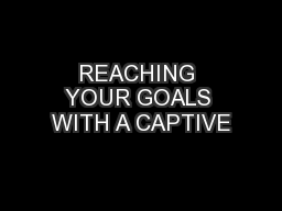 REACHING YOUR GOALS WITH A CAPTIVE