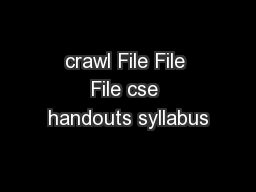 crawl File File File cse handouts syllabus