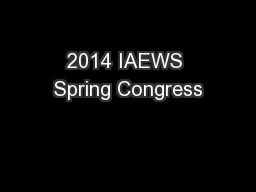 2014 IAEWS Spring Congress