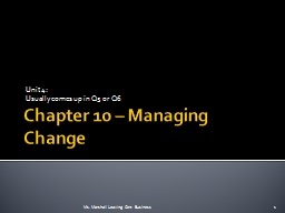 Chapter 10 – Managing Change