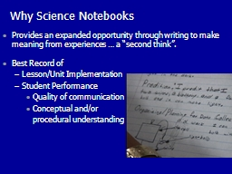 Why Science Notebooks