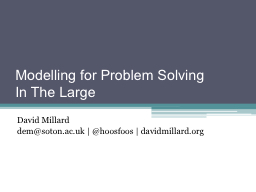 Modelling for Problem Solving