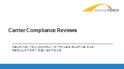 Carrier Compliance Reviews