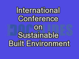 International Conference on Sustainable Built Environment