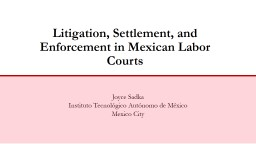 Litigation, Settlement, and Enforcement in Mexican Labor Co