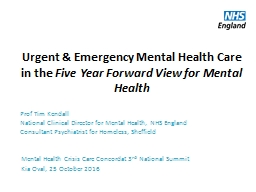 Urgent & Emergency Mental Health Care in the