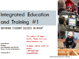 Integrated Education and Training # 1 March 3, 2016 PowerPoint PPT Presentation