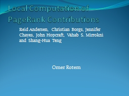 Local Computation of PageRank Contributions