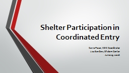 Shelter Participation in Coordinated Entry