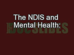 The NDIS and Mental Health:
