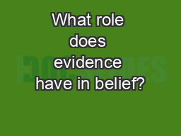 What role does evidence have in belief?