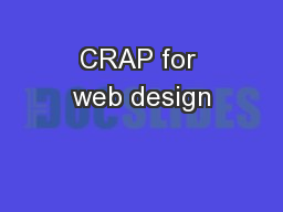 CRAP for web design