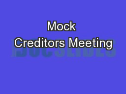 Mock Creditors Meeting