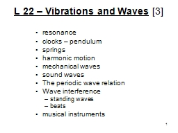 L 22 – Vibrations and Waves
