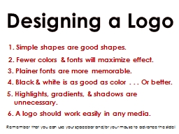 Designing a Logo PowerPoint PPT Presentation
