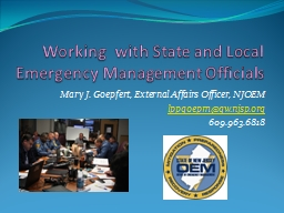 Working  with State and Local Emergency Management Official PowerPoint Presentation, PPT - DocSlides
