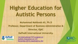Higher Education for Autistic Persons
