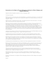 Declaration on the Rights of Persons Belonging to Nati