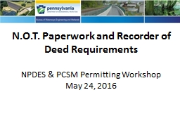 N.O.T. Paperwork and Recorder of Deed Requirements