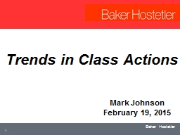 Trends in Class Actions