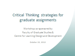 Critical Thinking strategies for graduate assignments